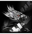 iron eagle with a guitar in its claws vector image vector image