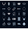 jewelry flat glyph icons jewellery store signs vector image