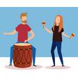 man playing bongo and woman playing maracas vector image vector image