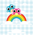 Owls express love on the rainbow background vector image vector image