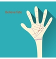 Palmistry map on open palm on abstract background vector image