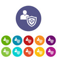 patient protection icons set color vector image vector image