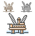 pixel icon offshore oil platform in three vector image