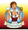 Pretty Bavarian girl with beer and pretzel vector image vector image