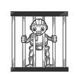 prisoner robot behind prison bars sketch engraving vector image vector image
