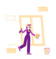 professional cleaning company worker vector image vector image