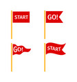 red flags set on white background vector image vector image