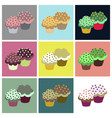 set icons in flat design cupcakes vector image vector image