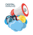 set icons related with digital marketing vector image vector image
