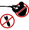 signs antisniper and no war vector image vector image