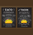traditional mexican fastfood chalk board taco menu vector image vector image