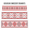 ukrainian embroidery ornaments set vector image vector image