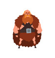 viking warrior character in animal skin cape vector image vector image