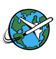 traveling by a plane icon cartoon vector image