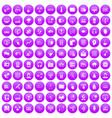 100 on-line seminar icons set purple vector image vector image