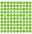 100 phobias icons hexagon green vector image vector image
