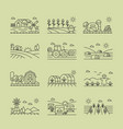 agricultural icons black and white linear set vector image vector image