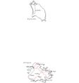 Antigua Barbuda Black White Map vector image vector image