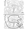 apple picking maze vector image vector image