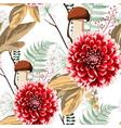 autumn dahlia flowers herbs and mushrooms vector image vector image