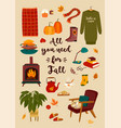 autumn with homely cute things vector image vector image