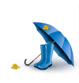 background with blue umbrella and rain boots