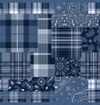 bandana motifs and tartan plaid fabric patchwork vector image vector image