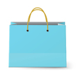 Blue paper shopping bag with yellow rope grips vector image