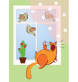 cat sings with the birds vector image