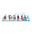 clothing store queue people masks social distance vector image vector image