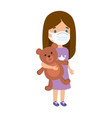 cute girl using face mask with teddy bear isolated