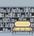 Empty Reading Seat In Front Of A Bookcase vector image vector image