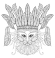 entangle cat with indian war bonnet bird feathers vector image