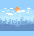 flat cityscape with blue sky white clouds and sun vector image
