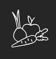 fruits and vegetables chalk white icon on black vector image vector image