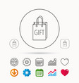 gift shopping bag icon present handbag sign vector image