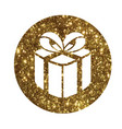 glitter golden holiday gift box icon vector image vector image
