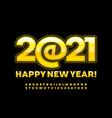 greeting card happy new year 2021 digital alphabet vector image vector image
