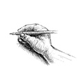 Hand holding pencil sketch vector image vector image