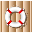 hanging marine buoy over wood wall background vector image vector image