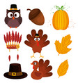 happy thanks giving set icons vector image vector image