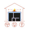 house pipeline structure with home repair icons vector image
