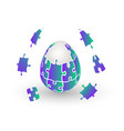 isolated orange jigsaw egg easter egg vector image vector image
