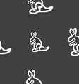 Kangaroo Icon sign Seamless pattern on a gray vector image