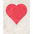lovely valentine red heart with roses vector image vector image