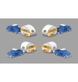 Low poly blue retro pickup with orange-white motor vector image vector image