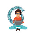 man sitting with laptop and video tape vector image vector image