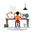 man working with pc at his work desk vector image vector image