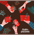 many human hands giving present for christmas vector image vector image