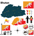 Map of Bhutan vector image vector image